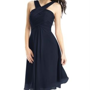 Azazie Amani Dark Navy Crisscross Bridesmaid Dress